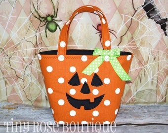 Pumpkin Trick or Treat Tote - Halloween Bag - Can Be Personalized