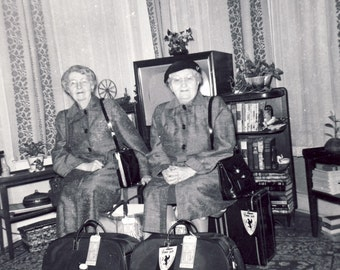 GRANDMA and AUNTIE Bags Packed Ready For Their Trip Photo 1956