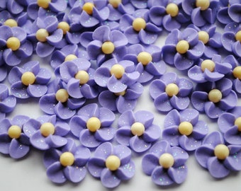 Lavender Royal Icing Flowers with Yellow Matte Sugar Pearl Centers and Sparkles (50)