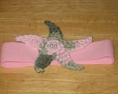 Baby Headband, Pink Camouflage starfish on pink headband