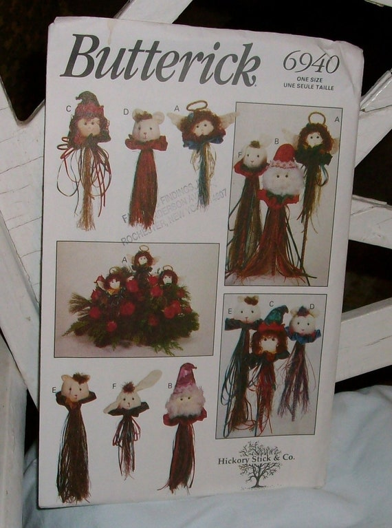 Butterick 1993 6940  Hickory stick & co., Christmas craft heads unopened/uncut