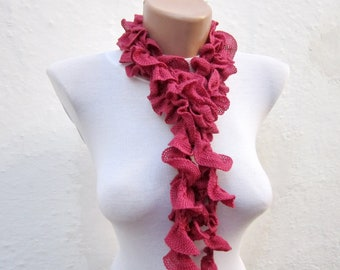 Crochet Scarf,Ruffle Scarf,Frilly scarf,lace scarf,Ruffled Scarf brick red