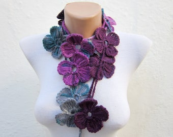 Handmade crochet Lariat Scarf grey purple Mulberry  Flower Lariat Scarf Colorful Variegated Long Necklace Winter Fashion  mothers day