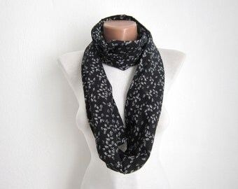 Infinity scarf Loop scarf Neckwarmer Necklace scarf   fabric  scarf  black white Gift Ideas Women scarf Valentines gift