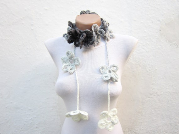 Hand Crochet Lariat Scarf,Flower Scarf,Lariat,Long Necklace