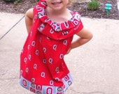 Infant Toddler Girls Ruffled Collar Ohio State fabric Dress