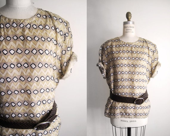 VINTAGE 80s Bedrock Tribal Print Silk Blouse - XL