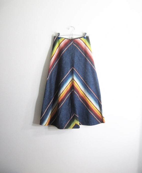 Vintage Mexican Blanket Skirt in Chevron xs-s