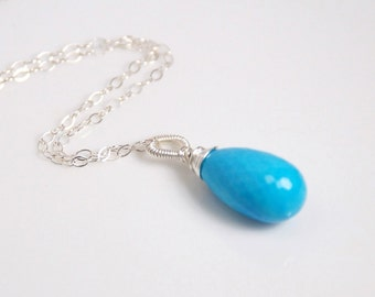 Grade AAA turquoise teardrop pendant necklace, sterling silver necklace