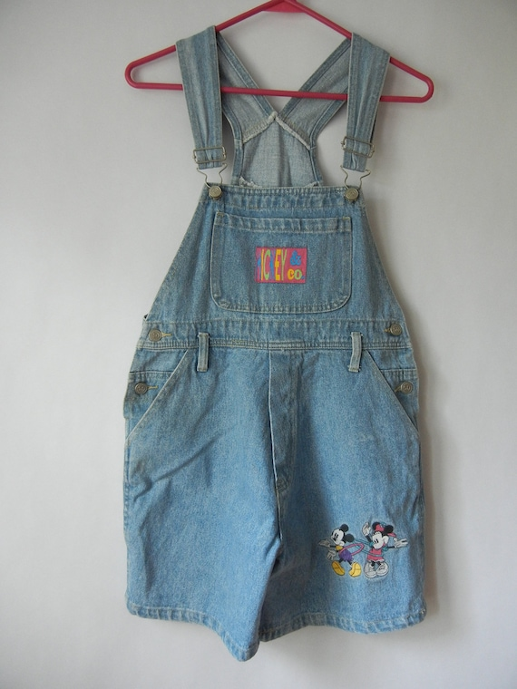Vintage Mickey and Minnie Overalls, Denim Overall Shorts, Size XS, Size girls 14, Hipster, Disney