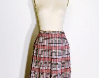 Vintage 1970s Skirt - 70s High Waist Skirt - Grey and Red Pleated