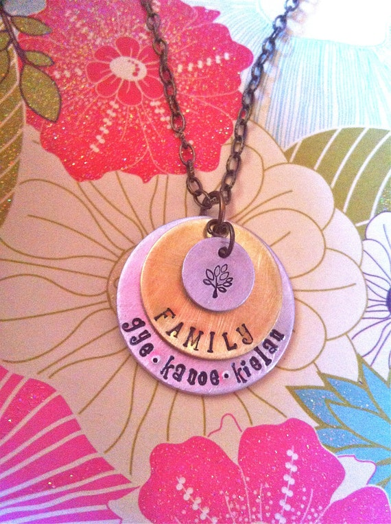 NEW-Family Tree Art...Hand Stamped Mixed Metal Necklace
