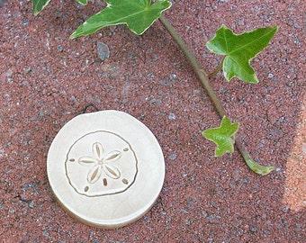 Ceramic Sand Dollar  Pendant Charm Beige Sand Ocean