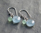 Green Quartz and Aquamarine Drop Earrings