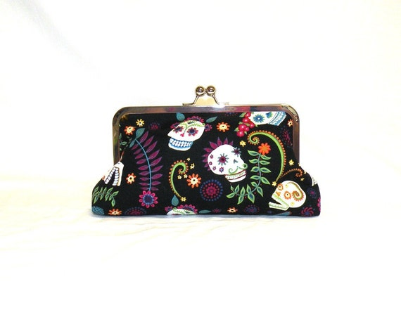 Day of the Dead/Dia de los Muertos Nickel Free Kisslock Clutch