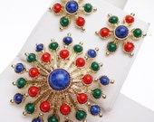 Sarah Coventry Carnival Demi Parure Brooch and Earrings