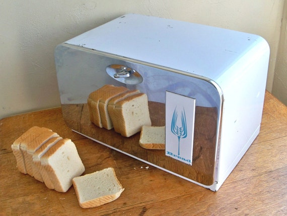 Mid-Century Beauty Box Chrome and White Bread Box - Retro Charm for Kitchen