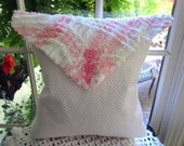 Pink And White Vintage Flannel And Chenille Envelope Pillow - Shabby Chic - Chenille Bedspread
