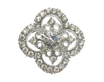 5 Crystal Rhinestone buttons for Wedding Invitation Card Shoe Clip Hair Accessories Bouquet RB-118 (30mm or 1.2inch)