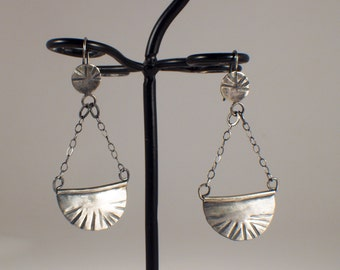 Sterling Silver hammered semi-circle dangle earrings
