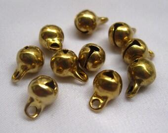 100pcs 6mm Raw Brass Jingle Bells Charm Findings in Gold b001