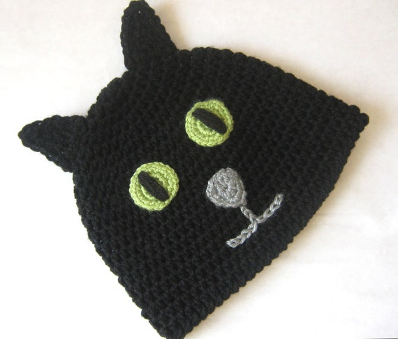 Black Cat Crochet Hat, Halloween Cat, Halloween Kitty Hat