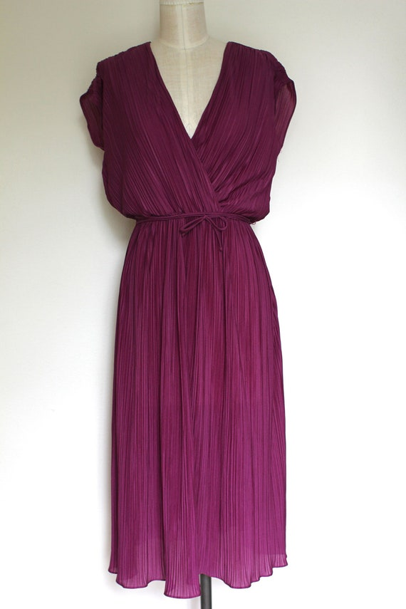 Plum Crystal Pleated Disco Dess, Surplice Neckline, Size M-L