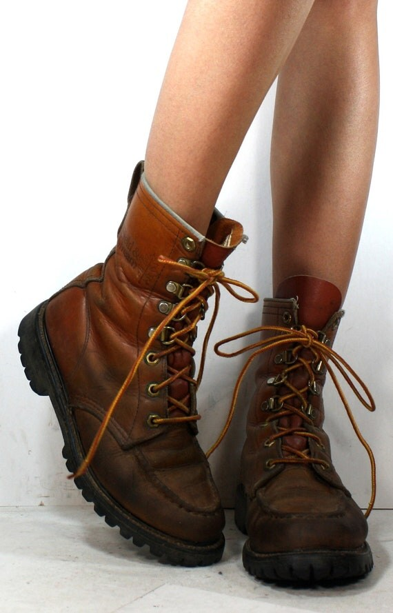 Vintage grunge granny COMBAT barn boot riding womens brown oxford pixie lace up 6.5 M B
