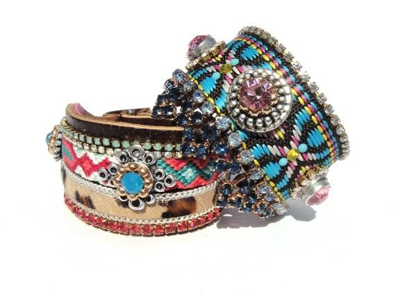 Bohemian hippie cuff bracelet- friendship bracelet - tribal gypsy style - jewel tones and hair on hide leopard leather