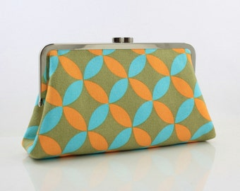 Double Circles (Blue & Orange) Kisslock Frame Clutch - the Christine Style Clutch