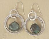 Labradorite Hoop Earrings, Silver Dangle earrings, Drop Earrings