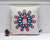 Hand Screen Printed Peacock Cushion Cover in French Navy & Coral Red