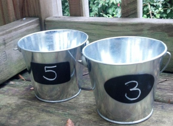 Set of 6 CHALKBOARD PAILS Buckets Galvanized Steel Silver Rustic Wedding Table Numbers Favors Birthday Party Bucket Pail Holiday Planter Pot