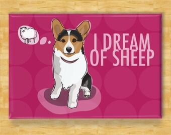 Corgi Refrigerator Magnet - I Dream of Sheep - Tri Color Pembroke Corgi Gift Dog Fridge Refrigerator Magnet