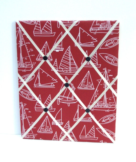 Sailing Memo Board, Photo Memory Board in Red, with White Saiboats, ribbon and Navy anchor buttons