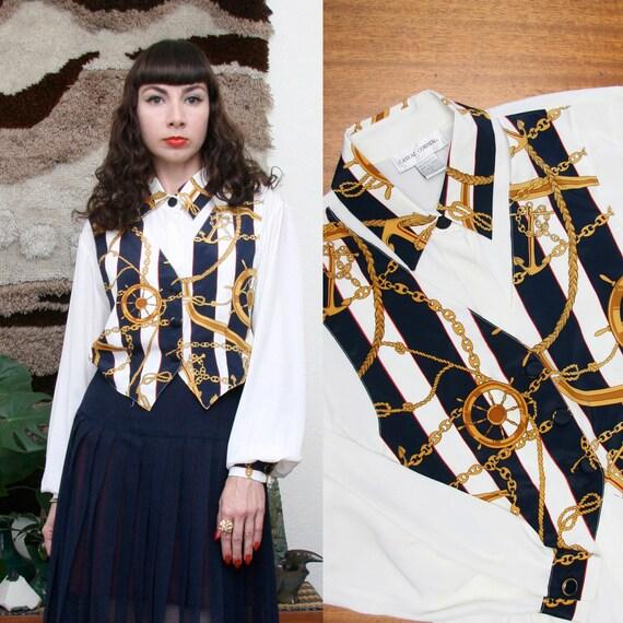 Vintage 90s Nautical Blouse W/ Mock Vest Large