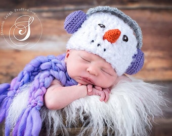 Download PDF crochet patterns 048 - Snowman with earmuffs hat - Multiple sizes from newborn through 12 months