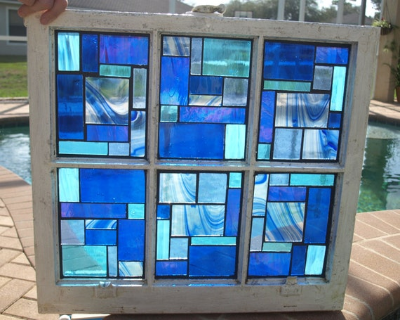 Blue Stained Glass Mosaic Vintage Repurpose Wooden Window