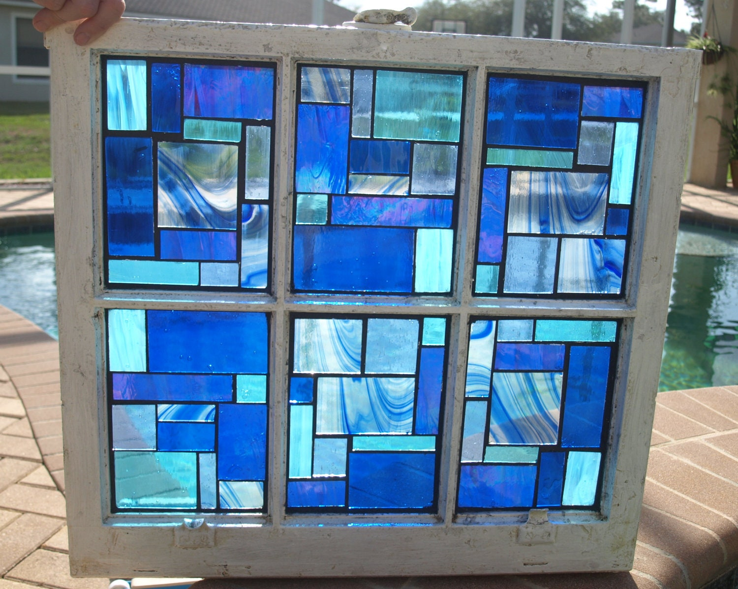 Stained glass bathroom window