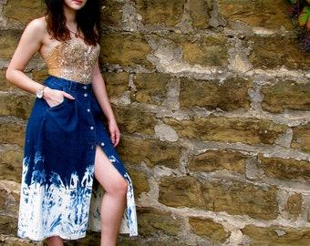onemanband. Original OMBRE Denim Long Cowgirl JEAN Skirt