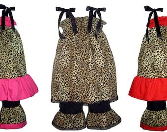 Pillowcase Dress Pants Set Cheetah Leopard Safari Animal Boutique 12/18M 24M/2T 3T/4T 5/6 Pageant