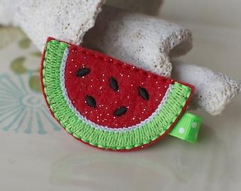 Sparkly Felt Watermelon Hair Clip