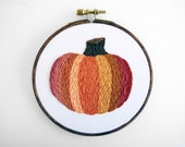 SALE: Primitive Thanksgiving or Halloween Pumpkin. Autumn Decoration. Hand Embroidery. Embroidered Orange Pumpkin - 5 inch Embroidery Hoop