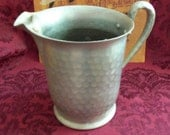 Antique Everlast Hammered Forged Aluminum Silvertone Pitcher Rustic Shabby Chic
