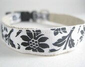 Hemp Dog Collar - Black and White Sophisticated Flowers - 3/4in