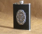 Ladies Gift Ornate Silver Oval on Black Leather 8 ounce Stainless Steel Flask KR2D 5910