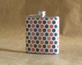 SALE Flask  OSU Black, Orange, and White Polka Dot Print Sorority Gift 6 Ounce Flask KR2D 6039