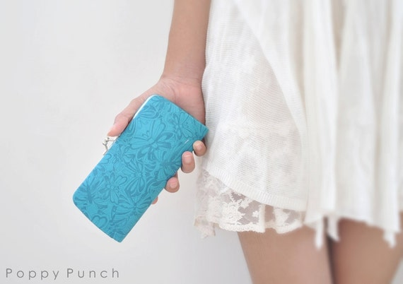 Tonal Butterflies in Turquoise -- Small clutch purse -- Ready to ship
