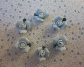 11mm Blue Ceramic Roses - Flower Cameos - Green Leaf - Flat Back Cabochons - Qty 6