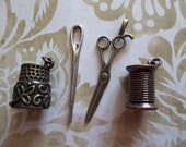 4 Piece Sewing Kit Charms in Antiqued Brass, Silver, Copper & Gold - Scissors, Needle, Spool of Thread and Thimble
